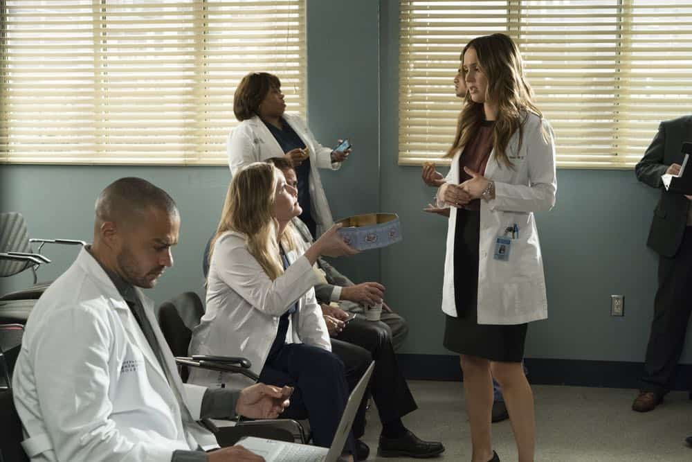 "GREY'S ANATOMY - ""Judgment Day"" - During presentations on Grey Sloan Surgical Innovation Prototypes Day, Arizona shares some cookies from an appreciative patient that, unbeknownst to her, contain a special ingredient. Meanwhile, Catherine reveals some shocking details to Jackson about his grandfather's past; and Jo steps in mid-operation on a major surgery after Bailey and Meredith are down for the count, on ""Grey's Anatomy,"" THURSDAY, APRIL 19 (8:00-9:00 p.m. EDT), on The ABC Television Network. (ABC/Byron Cohen) JESSE WILLIAMS, JESSICA CAPSHAW, CHANDRA WILSON, CAMILLA LUDDINGTON"