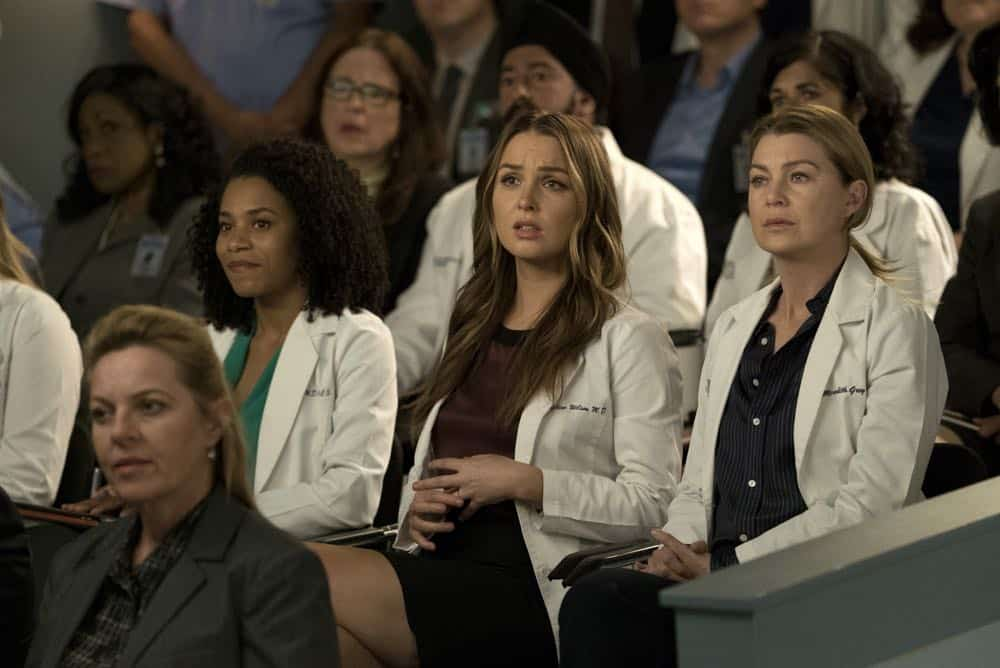 "GREY'S ANATOMY - ""Judgment Day"" - During presentations on Grey Sloan Surgical Innovation Prototypes Day, Arizona shares some cookies from an appreciative patient that, unbeknownst to her, contain a special ingredient. Meanwhile, Catherine reveals some shocking details to Jackson about his grandfather's past; and Jo steps in mid-operation on a major surgery after Bailey and Meredith are down for the count, on ""Grey's Anatomy,"" THURSDAY, APRIL 19 (8:00-9:00 p.m. EDT), on The ABC Television Network. (ABC/Byron Cohen) KELLY MCCREARY, CAMILLA LUDDINGTON, ELLEN POMPEO"