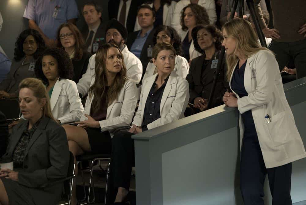 "GREY'S ANATOMY - ""Judgment Day"" - During presentations on Grey Sloan Surgical Innovation Prototypes Day, Arizona shares some cookies from an appreciative patient that, unbeknownst to her, contain a special ingredient. Meanwhile, Catherine reveals some shocking details to Jackson about his grandfather's past; and Jo steps in mid-operation on a major surgery after Bailey and Meredith are down for the count, on ""Grey's Anatomy,"" THURSDAY, APRIL 19 (8:00-9:00 p.m. EDT), on The ABC Television Network. (ABC/Byron Cohen) KELLY MCCREARY, CAMILLA LUDDINGTON, ELLEN POMPEO, JESSICA CAPSHAW"