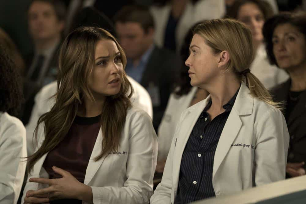 "GREY'S ANATOMY - ""Judgment Day"" - During presentations on Grey Sloan Surgical Innovation Prototypes Day, Arizona shares some cookies from an appreciative patient that, unbeknownst to her, contain a special ingredient. Meanwhile, Catherine reveals some shocking details to Jackson about his grandfather's past; and Jo steps in mid-operation on a major surgery after Bailey and Meredith are down for the count, on ""Grey's Anatomy,"" THURSDAY, APRIL 19 (8:00-9:00 p.m. EDT), on The ABC Television Network. (ABC/Byron Cohen) CAMILLA LUDDINGTON, ELLEN POMPEO"