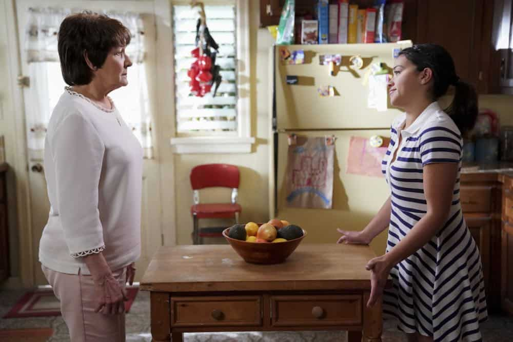 "Jane The Virgin -- ""Chapter Eighty"" -- Image Number: JAV416b_0206.jpg -- Pictured (L-R): Ivonne Coll as Alba and Gina Rodriguez as Jane -- Photo: Tyler Golden/The CW -- © 2018 The CW Network, LLC. All Rights Reserved."