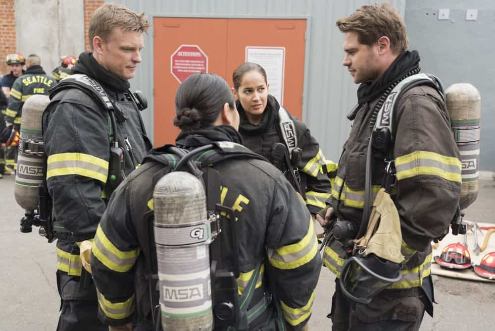 "STATION 19 - ""Stronger Together"" - Andy, Jack and 18 other candidates take the captaincy drill test, gunning for one spot as captain of Station 19. Meanwhile, Travis is serving as acting captain while Andy and Jack are away for the day; and Ben confronts Vic about her fears, on ""Station 19,"" THURSDAY, APRIL 19 (9:00-10:00 p.m. EDT), on The ABC Television Network. (ABC/Eric McCandless) BRAD BEYER, JAINA LEE ORTIZ, GREY DAMON"