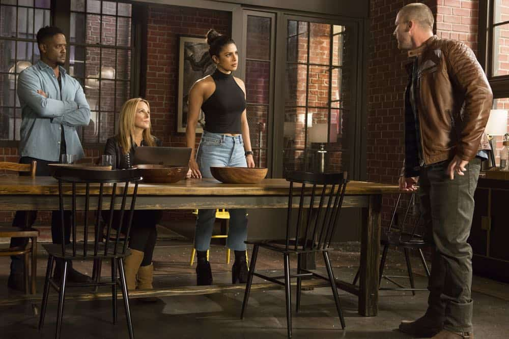 "QUANTICO - ""The Conscience Code"" - It's been three years since American hero Alex Parrish has had to navigate the dangerous waters of the Central Intelligence Agency and put her life on the line for her country. She has been living a peaceful, anonymous life somewhere in Italy. However, Alex is forced to abandon this idyllic existence when Ryan persuades her to help him rescue Shelby from a notorious international arms dealer known only as The Widow, who is holding her hostage - and in exchange for her release she demands something that only Alex can provide, when ""Quantico"" premieres for its third season, THURSDAY, APRIL 26 (10:00-11:00 p.m. EDT), on The ABC Television Network. (ABC/Giovanni Rufino) BLAIR UNDERWOOD, MARLEE MATLIN, PRIYANKA CHOPRA, JAKE MCLAUGHLIN"