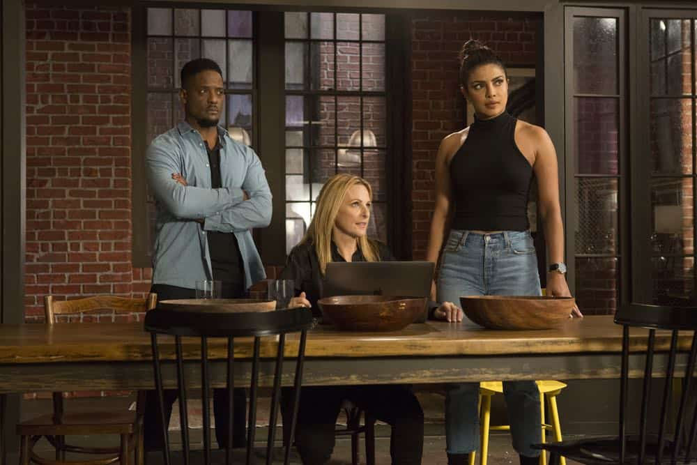 "QUANTICO - ""The Conscience Code"" - It's been three years since American hero Alex Parrish has had to navigate the dangerous waters of the Central Intelligence Agency and put her life on the line for her country. She has been living a peaceful, anonymous life somewhere in Italy. However, Alex is forced to abandon this idyllic existence when Ryan persuades her to help him rescue Shelby from a notorious international arms dealer known only as The Widow, who is holding her hostage - and in exchange for her release she demands something that only Alex can provide, when ""Quantico"" premieres for its third season, THURSDAY, APRIL 26 (10:00-11:00 p.m. EDT), on The ABC Television Network. (ABC/Giovanni Rufino) BLAIR UNDERWOOD, MARLEE MATLIN, PRIYANKA CHOPRA"