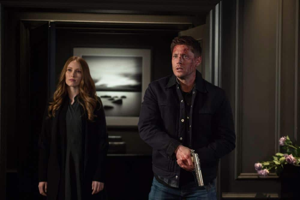 "Supernatural -- ""Funeralia"" -- Image Number: SN1319a_0406b.jpg -- Pictured (L-R): Kayla Stanton as Jessica and Jensen Ackles as Dean -- Photo: Diyah Pera/The CW -- © 2018 The CW Network, LLC. All rights reserved"