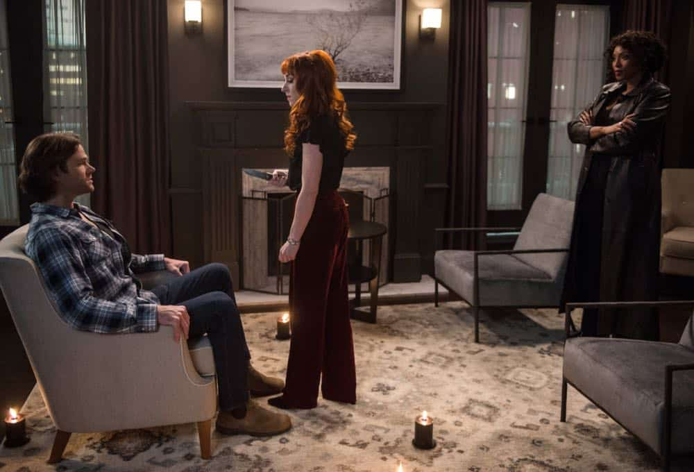 "Supernatural -- ""Funeralia"" -- Image Number: SN1319a_0031b.jpg -- Pictured (L-R): Jared Padalecki as Sam, Ruth Connell as Rowena and Lisa Berry as Billie -- Photo: Diyah Pera/The CW -- © 2018 The CW Network, LLC. All rights reserved"
