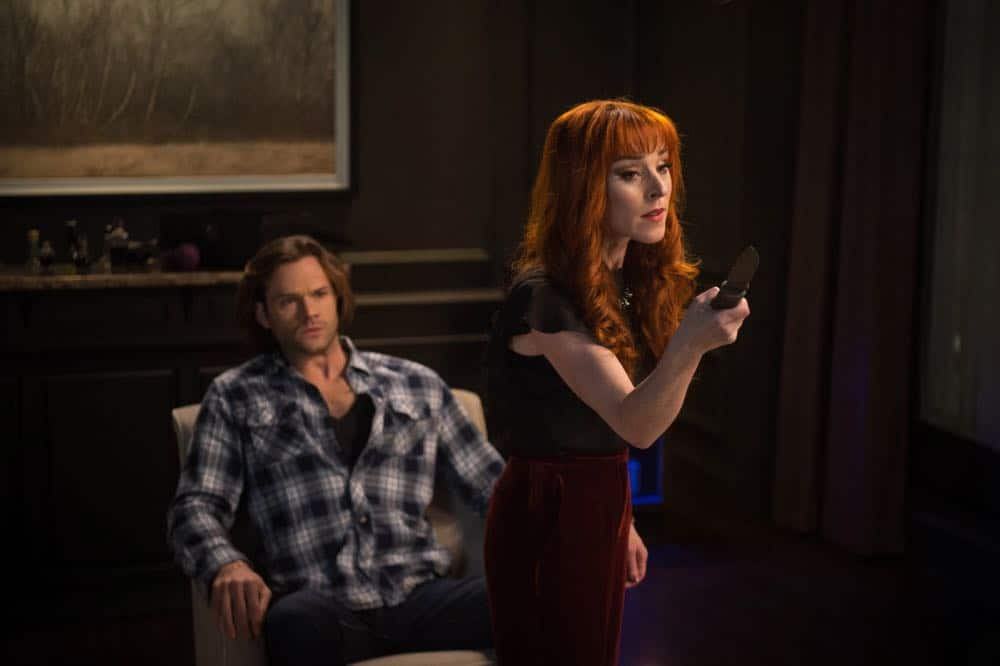 "Supernatural -- ""Funeralia"" -- Image Number: SN1319a_0301b.jpg -- Pictured (L-R): Jared Padalecki as Sam and Ruth Connell as Rowena -- Photo: Diyah Pera/The CW -- © 2018 The CW Network, LLC. All rights reserved"