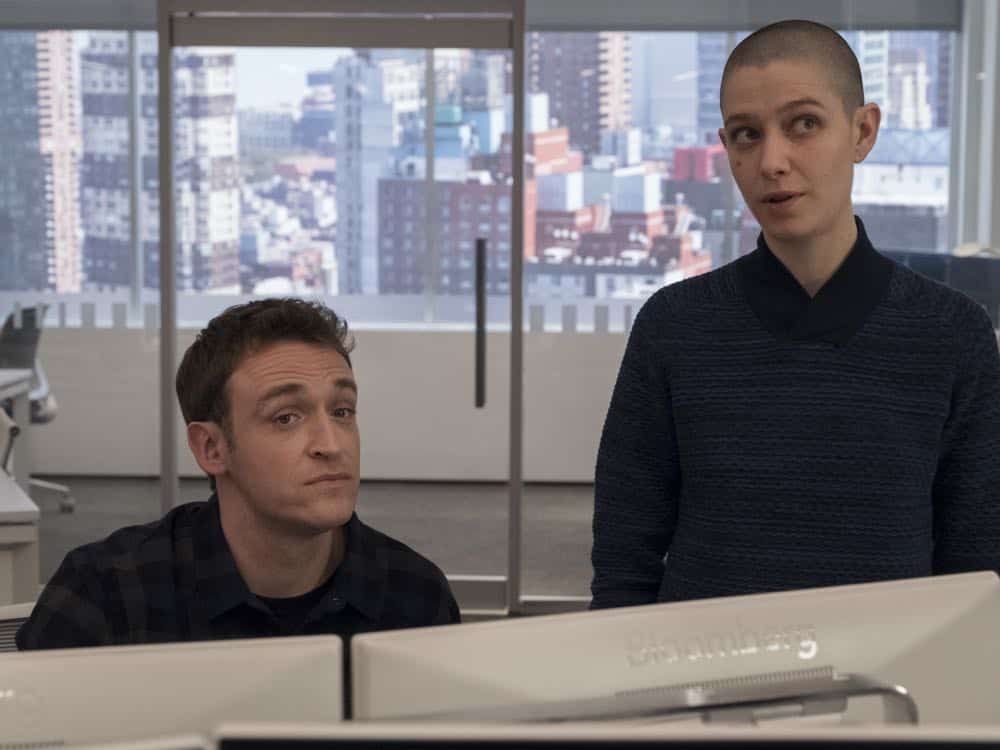 "Dan Soder as Mafee and Asia Kate Dillon as Taylor in BILLIONS (Season 3, Episode 04, ""Hell of a Ride""). - Photo: Jeff Neumann/SHOWTIME - Photo ID: BILLIONS_304_1793.R.jpg"
