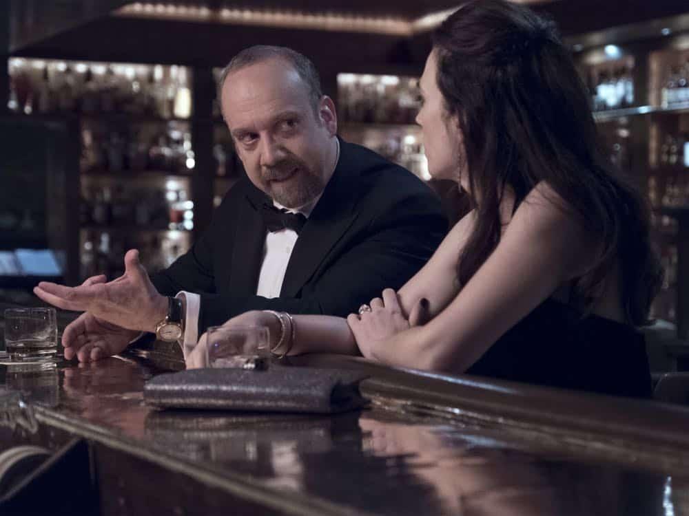 "Paul Giamatti as Chuck Rhoades and Maggie Siff as Wendy Rhoades in BILLIONS (Season 3, Episode 04, ""Hell of a Ride""). - Photo: Jeff Neumann/SHOWTIME - Photo ID: BILLIONS_304_112.R.jpg"