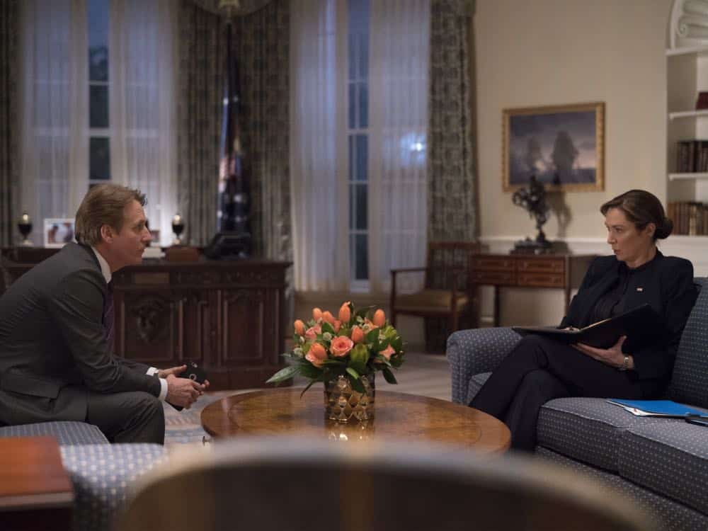 "Linus Roache as David Wellington and Elizabeth Marvel as President Keane in HOMELAND (Season 7, Episode 10, ""Clarity""). - Photo: Antony Platt/SHOWTIME"