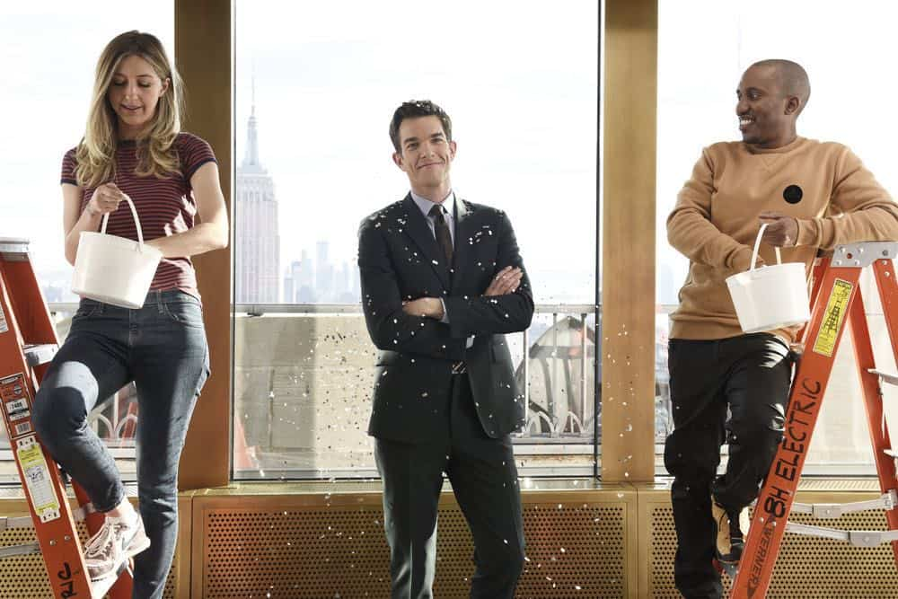 "SATURDAY NIGHT LIVE -- Episode 1743 ""John Mulaney"" -- Pictured: (l-r) Heidi Gardner, Host John Mulaney, Chris Redd during a promo in Rockefeller Plaza -- (Photo by: Rosalind O'Connor/NBC)"