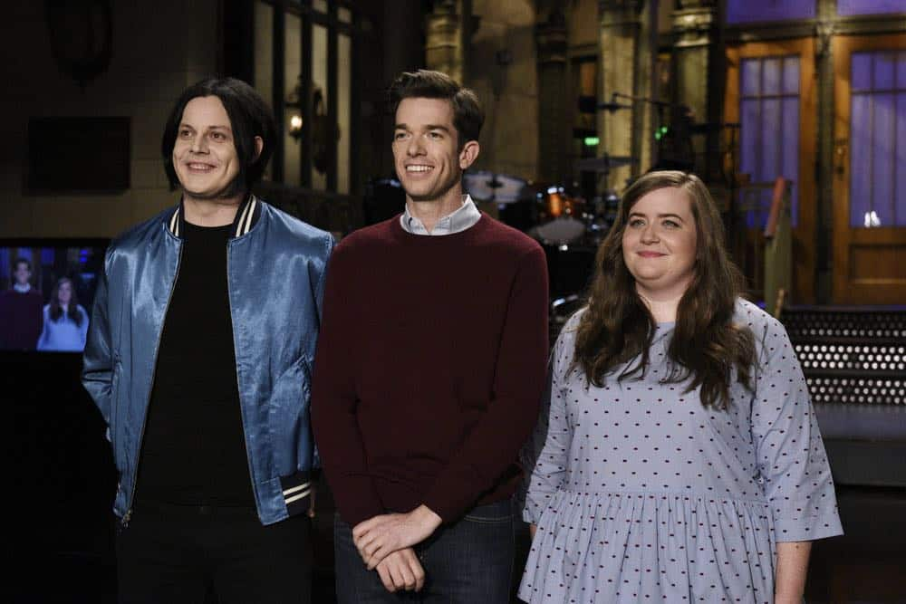 "SATURDAY NIGHT LIVE -- Episode 1743 ""John Mulaney"" -- Pictured: (l-r) Musical Guest Jack White, Host John Mulaney, Aidy Bryant during a promo in 30 Rockefeller Plaza -- (Photo by: Rosalind O'Connor/NBC)"