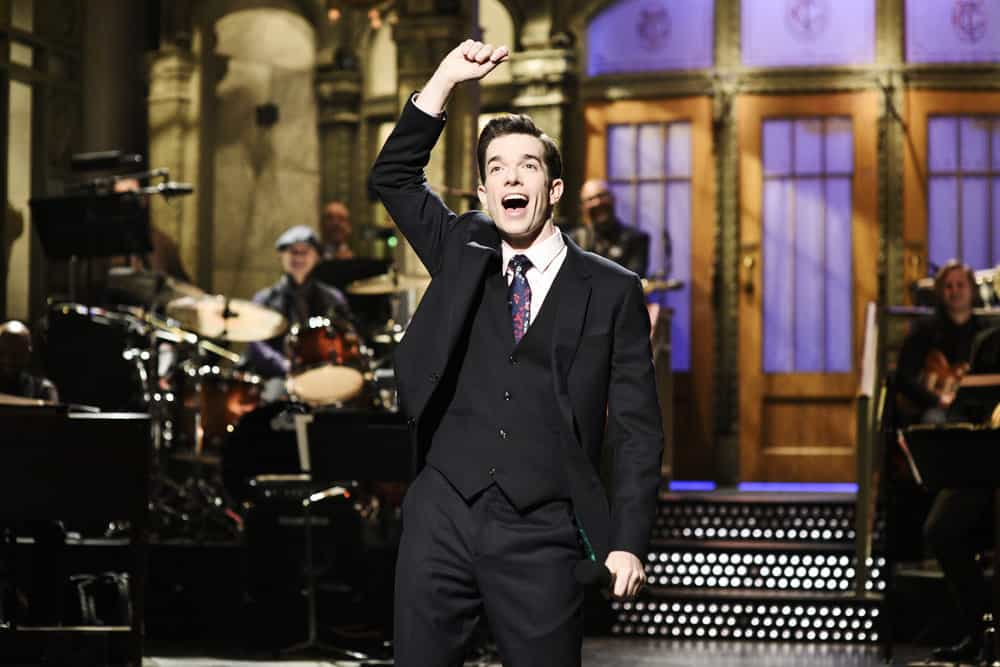 "SATURDAY NIGHT LIVE -- Episode 1743 ""John Mulaney"" -- Pictured: John Mulaney during the Opening Monologue in Studio 8H on Saturday, April 14, 2018 -- (Photo by: Will Heath/NBC)"
