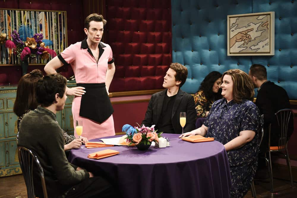 "SATURDAY NIGHT LIVE -- Episode 1743 ""John Mulaney"" -- Pictured: (l-r) John Mulaney as Tawny Pockets/Milton Sauders, Alex Moffat as Gary Watson, Aidy Bryant during ""Drag Brunch"" in Studio 8H on Saturday, April 14, 2018 -- (Photo by: Will Heath/NBC)"