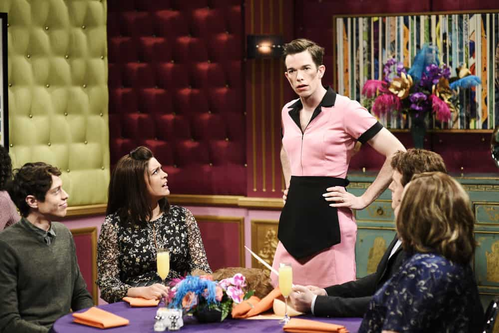 "SATURDAY NIGHT LIVE -- Episode 1743 ""John Mulaney"" -- Pictured: (l-r) Pete Davidson, Cecily Strong, John Mulaney as Tawny Pockets/Milton Sauders, Alex Moffat as Gary Watson, Aidy Bryant during ""Drag Brunch"" in Studio 8H on Saturday, April 14, 2018 -- (Photo by: Will Heath/NBC)"