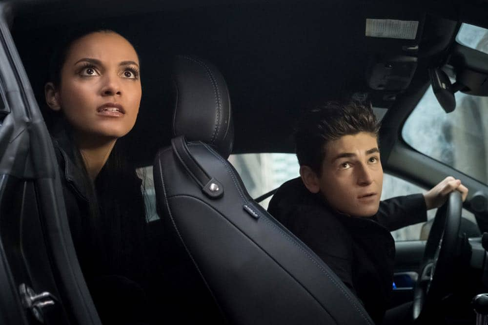 "GOTHAM: L-R: Jessica Lucas and David Mazouz in the ""A Dark Knight: To Our Deaths and Beyond"" episode of GOTHAM airing Thursday, April 19 (8:00-9:00 PM ET/PT) on FOX. ©2018 Fox Broadcasting Co. Cr: FOX"