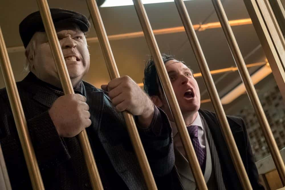 "GOTHAM: L-R: Drew Powell and Robin Lord Taylor in the ""A Dark Knight: To Our Deaths and Beyond"" episode of GOTHAM airing Thursday, April 19 (8:00-9:00 PM ET/PT) on FOX. ©2018 Fox Broadcasting Co. Cr: FOX"