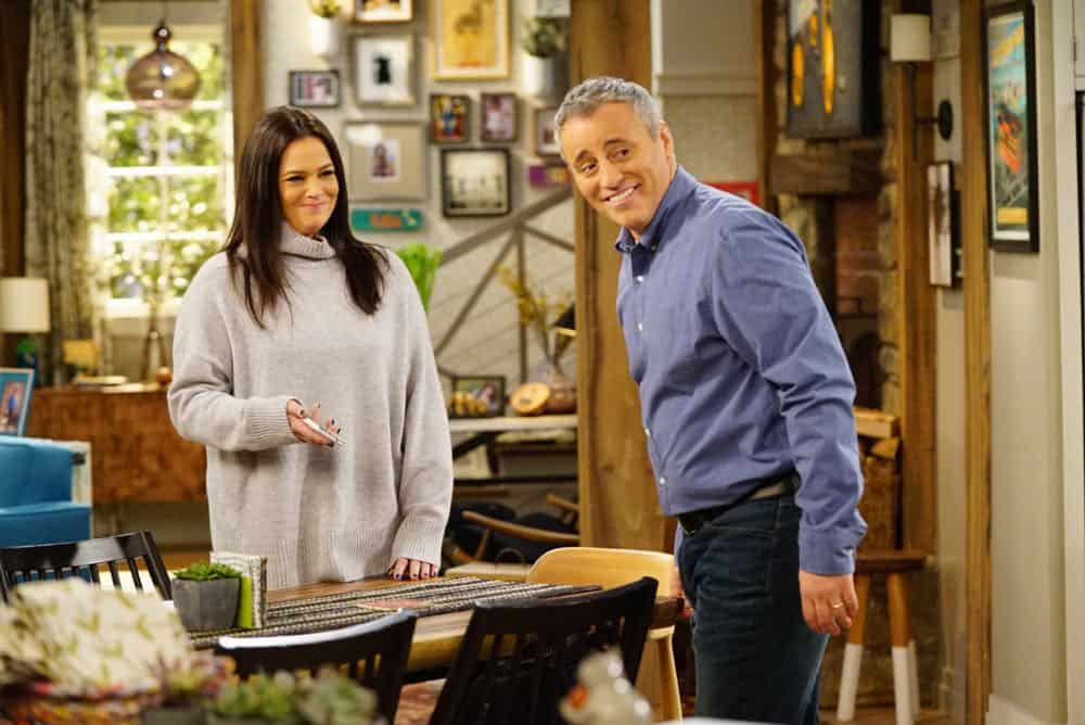 """King For a Day"" -- Adam is determined to figure out what Andi's hiding when he discovers she's been keeping secrets from him for his own good, on MAN WITH A PLAN, Monday, April 16 (8:30-9:00 PM, ET/PT) on the CBS Television Network. Pictured (L-R) Liza Snyder as Andi Burns and Matt LeBlanc as Adam Burns  Photo: Sonja Flemming/CBS ©2018 CBS Broadcasting, Inc. All Rights Reserved"