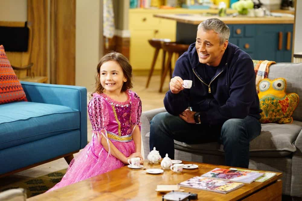 """King For a Day"" -- Adam is determined to figure out what Andi's hiding when he discovers she's been keeping secrets from him for his own good, on MAN WITH A PLAN, Monday, April 16 (8:30-9:00 PM, ET/PT) on the CBS Television Network. Pictured (L-R) Hala Finley as Emme Burns  and Matt LeBlanc as Adam Burns  Photo: Sonja Flemming/CBS ©2018 CBS Broadcasting, Inc. All Rights Reserved"