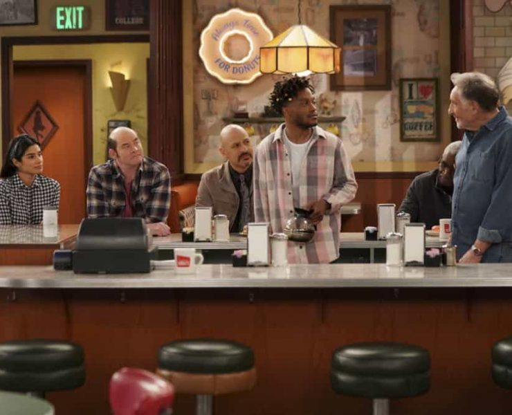 """""""Pedal to the Meddle""""--Arthur's offer to teach Franco to drive hits a speed bump when a cop catches Arthur with an expired license. Also, Tush prepares to attend a princely wedding for his friend Harry, on SUPERIOR DONUTS, Monday, April 16 (9:00-9:30 PM, ET/PT), on the CBS Television Network. Pictured L-R: Diane Guerrero as Sofia, David Koechner as Tush, Maz Jobrani as Fawz, Jermaine Fowler as Franco, and Judd Hirsch as Arthur Photo: Ron P. Jaffe/CBS ©2018 CBS Broadcasting, Inc. All Rights Reserved"""