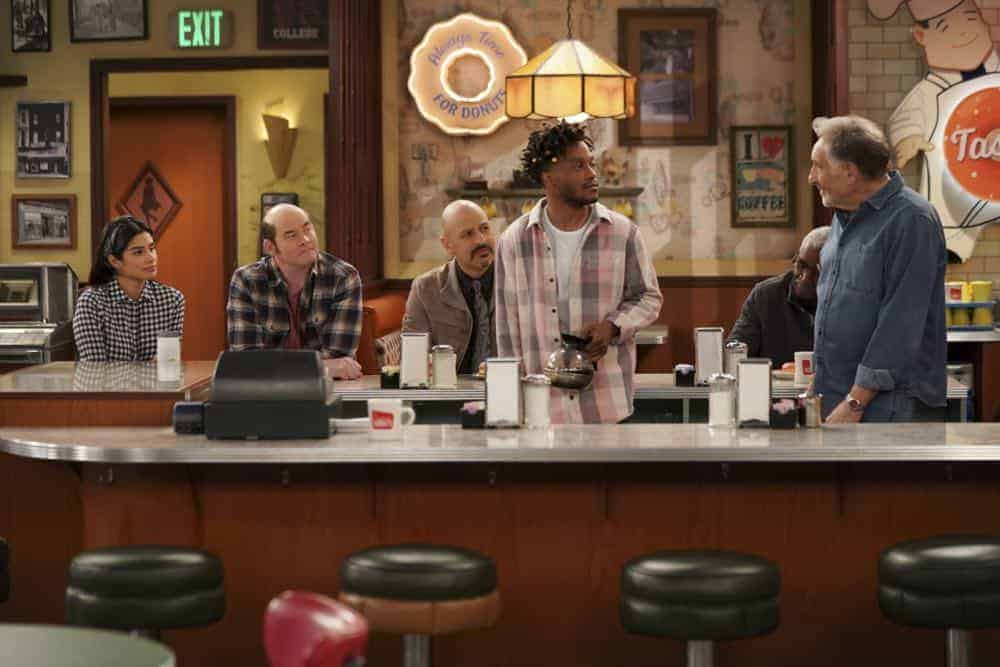 """Pedal to the Meddle""--Arthur's offer to teach Franco to drive hits a speed bump when a cop catches Arthur with an expired license. Also, Tush prepares to attend a princely wedding for his friend Harry, on SUPERIOR DONUTS, Monday, April 16 (9:00-9:30 PM, ET/PT), on the CBS Television Network. Pictured L-R: Diane Guerrero as Sofia, David Koechner as Tush, Maz Jobrani as Fawz, Jermaine Fowler as Franco, and Judd Hirsch as Arthur Photo: Ron P. Jaffe/CBS ©2018 CBS Broadcasting, Inc. All Rights Reserved"