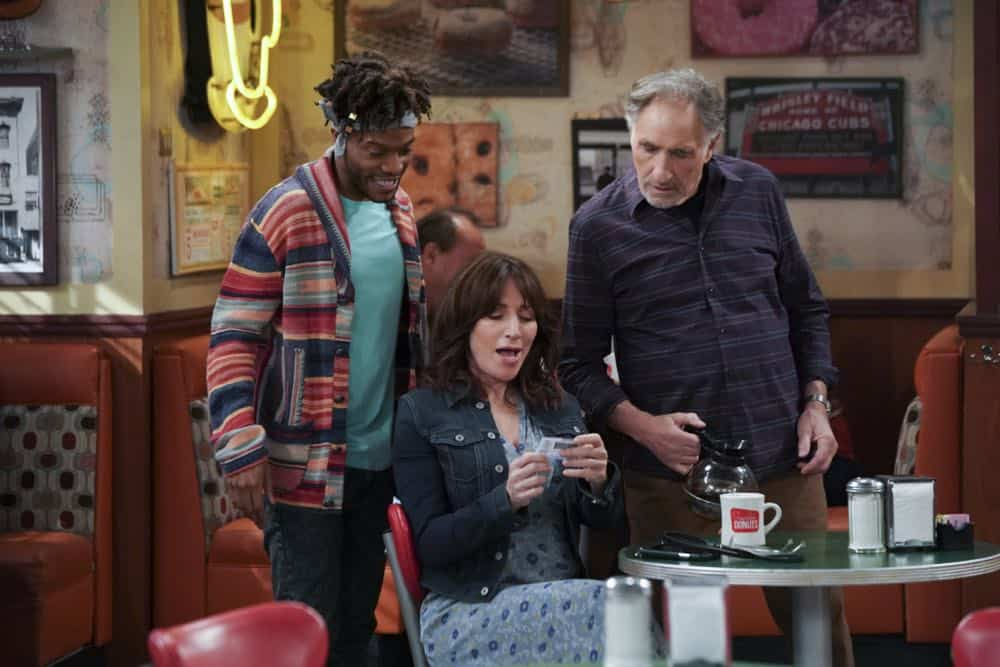 """Pedal to the Meddle""--Arthur's offer to teach Franco to drive hits a speed bump when a cop catches Arthur with an expired license. Also, Tush prepares to attend a princely wedding for his friend Harry, on SUPERIOR DONUTS, Monday, April 16 (9:00-9:30 PM, ET/PT), on the CBS Television Network. Pictured L-R: Jermaine Fowler as Franco, Katey Sagal as Randy, and Jermaine Fowler as Franco Photo: Ron P. Jaffe/CBS ©2018 CBS Broadcasting, Inc. All Rights Reserved"