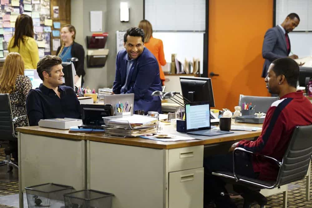 ÒShow HospitalityÓ Ð Chip and LeslieÕs patience is tested when they invite Rabbi Gil to stay with them after he discovers his wife is having an affair, on LIVING BIBLICALLY, Monday, April 16 (9:30-10:00PM, ET/PT) on the CBS Television Network. Pictured L-R: Jay R. Ferguson as Chip, Ravi Patel as Doug, and Tony Rock as Vince Photo: Sonja Flemming/CBS ©2017 CBS Broadcasting, Inc. All Rights Reserved