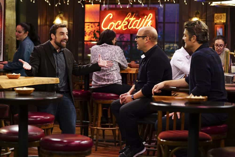 ÒShow HospitalityÓ Ð Chip and LeslieÕs patience is tested when they invite Rabbi Gil to stay with them after he discovers his wife is having an affair, on LIVING BIBLICALLY, Monday, April 16 (9:30-10:00PM, ET/PT) on the CBS Television Network. Pictured L-R: David Krumholtz as Rabbi Gil, Ian Gomez as Father Gene, and Jay R. Ferguson as Chip Photo: Sonja Flemming/CBS ©2017 CBS Broadcasting, Inc. All Rights Reserved