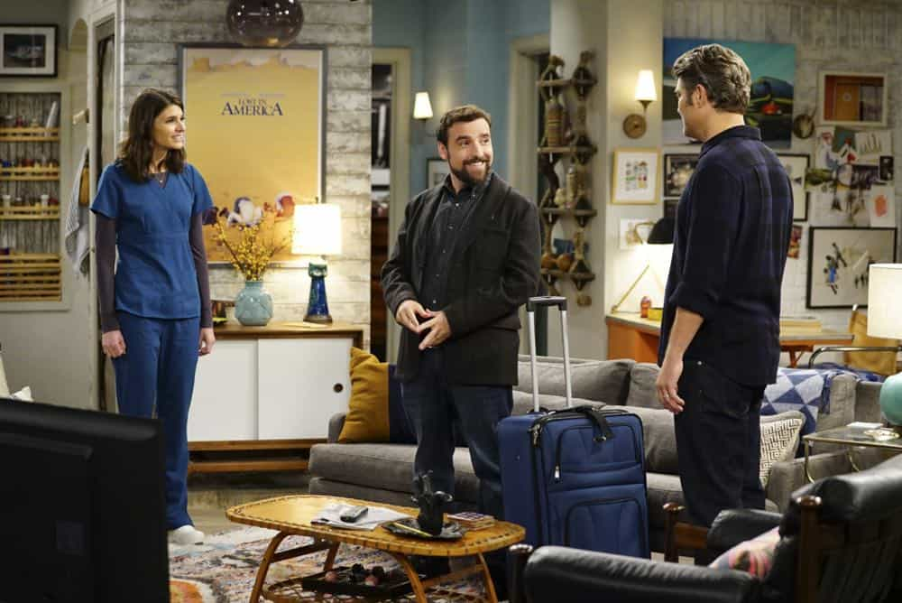 ÒShow HospitalityÓ Ð Chip and LeslieÕs patience is tested when they invite Rabbi Gil to stay with them after he discovers his wife is having an affair, on LIVING BIBLICALLY, Monday, April 16 (9:30-10:00PM, ET/PT) on the CBS Television Network. Pictured L-R: Lindsey Kraft as Leslie, David Krumholtz as Rabbi Gil, and Jay R. Ferguson as Chip Photo: Sonja Flemming/CBS ©2017 CBS Broadcasting, Inc. All Rights Reserved