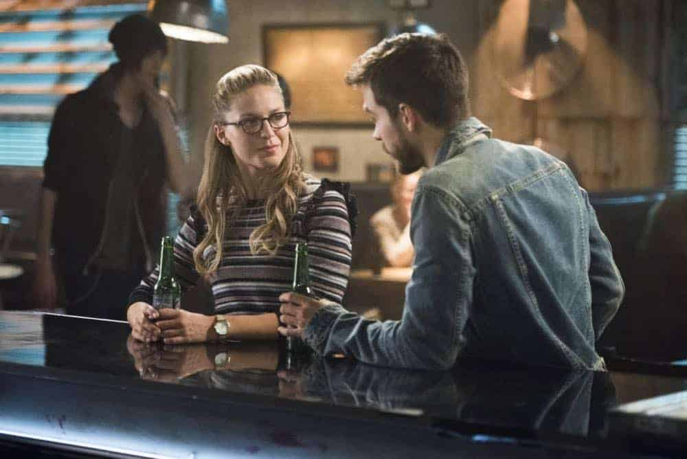 "Supergirl -- ""Schott Through the Heart"" -- Image Number: SPG314b_0443.jpg -- Pictured (L-R): Melissa Benoist as Kara/Supergirl and Chris Wood as Mon-El -- Photo: Dean Buscher/The CW -- © 2018 The CW Network, LLC. All rights reserved."