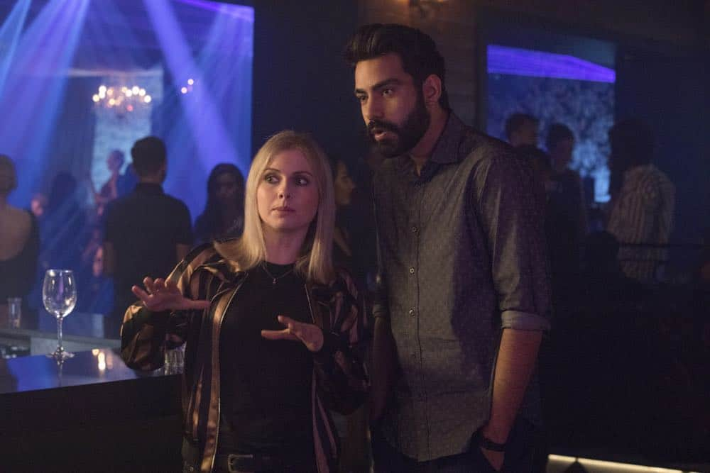 "iZombie -- ""Don't Hate the Player, Hate the Brain"" -- Image Number: ZMB407b_0143b.jpg -- Pictured (L-R): Rose McIver as Liv and Rahul Kohli as Ravi -- Photo Credit: Jack Rowand/The CW -- © 2018 The CW Network, LLC. All Rights Reserved"