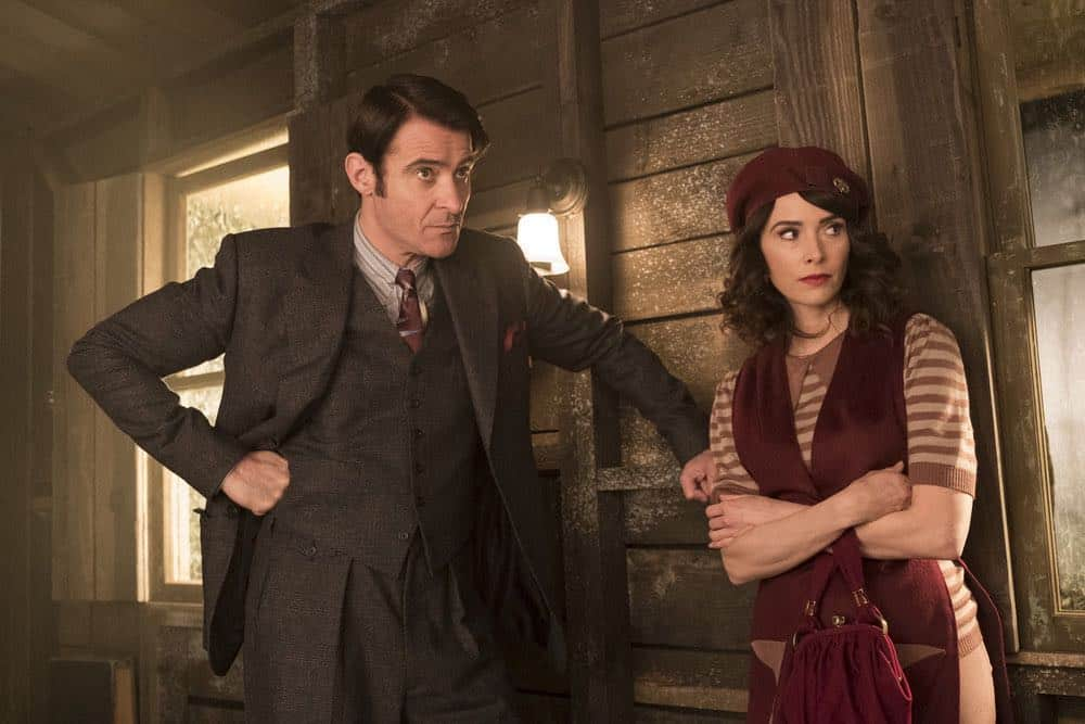 "TIMELESS -- ""King of Delta Blues"" Episode 206 -- Pictured: (l-r) Goran Visnjic as Garcia Flynn, Abigail Spencer as Lucy Preson -- (Photo by: Justin Lubin/NBC)"