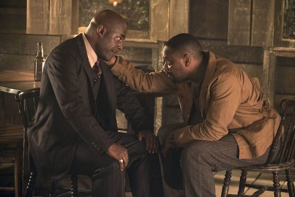 "TIMELESS -- ""King of Delta Blues"" Episode 206 -- Pictured: (l-r) Malcolm Barrett as Rufus Carlin, Paterson Joseph as Connor Mason -- (Photo by: Justin Lubin/NBC)"