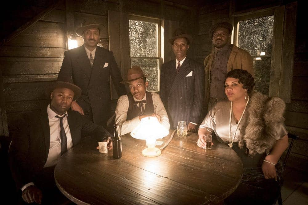 "TIMELESS -- ""King of Delta Blues"" Episode 206 -- Pictured: (l-r) Wiley B. Oscar as Muddy Waters, Keith Machekanyanga as Son House, Kamal Naiqui as Robert Johnson, Malcolm Barrett as Rufus Carlin, Radha Blank as Bessie Smith -- (Photo by: Justin Lubin/NBC)"