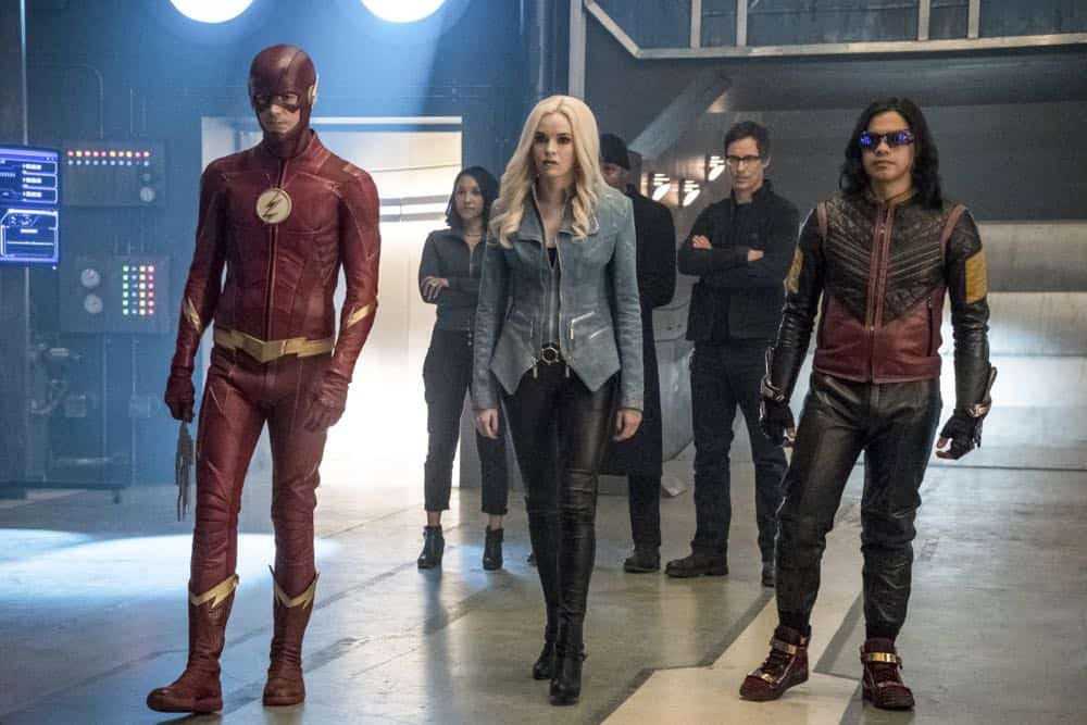"The Flash -- ""Lose Yourself"" -- Image Number: FLA418a_0302b.jpg -- Pictured (L-R): Grant Gustin as The Flash, Candice Patton as Iris West, Danielle Panabaker as Caitlin Snow/Killer Frost, Jesse L. Martin as Detective Joe West, Tom Cavanagh as Harrison Wells and Carlos Valdes as Cisco Ramon/Vibe -- Photo: Katie Yu/The CW -- © 2018 The CW Network, LLC. All rights reserved"