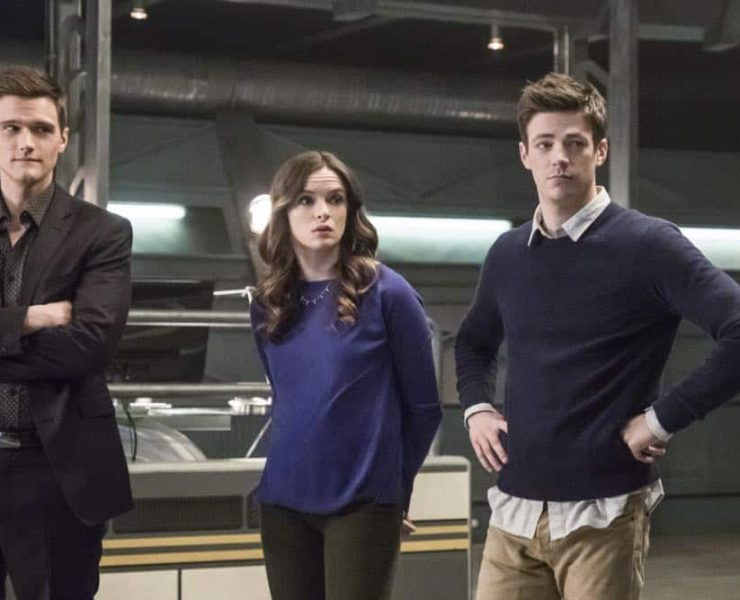 """The Flash -- """"Lose Yourself"""" -- Image Number: FLA418a_0092b.jpg -- Pictured (L-R): Hartley Sawyer as Dibney, Danielle Panabaker as Caitlin Snow and Grant Gustin as Barry Allen -- © 2018 The CW Network, LLC. All rights reserved"""