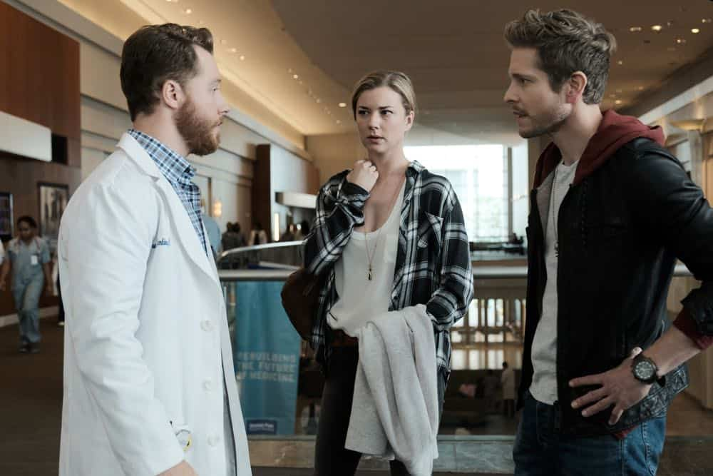 "THE RESIDENT: L-R: Guest star Matt Shively, Emily VanCamp and Matt Czurchry in the ""And the Nurses Get Screwed…"" episode of THE RESIDENT airing Monday, April 23 (9:00-10:00 PM ET/PT) on FOX. ©2018 Fox Broadcasting Co. Cr: Guy D'Alema/FOX"