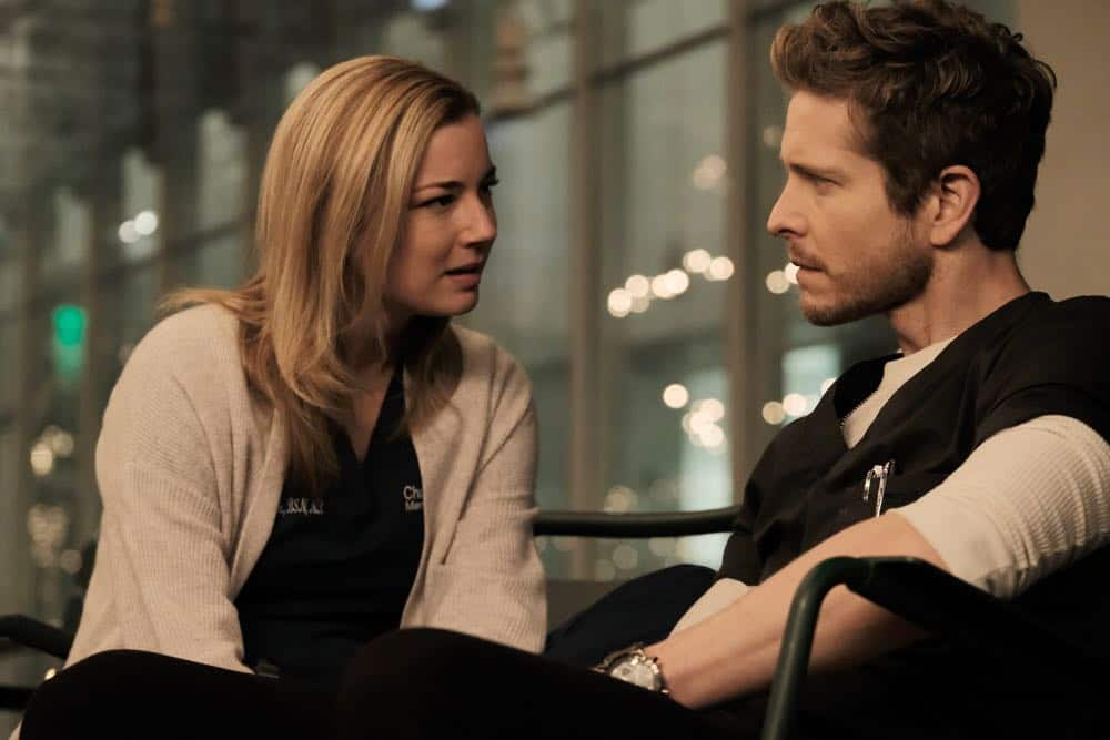 "THE RESIDENT: L-R: Emily VanCamp and Matt Czuchry in the ""And the Nurses Get Screwed…"" episode of THE RESIDENT airing Monday, April 23 (9:00-10:00 PM ET/PT) on FOX. ©2018 Fox Broadcasting Co. Cr: Guy D'Alema/FOX"
