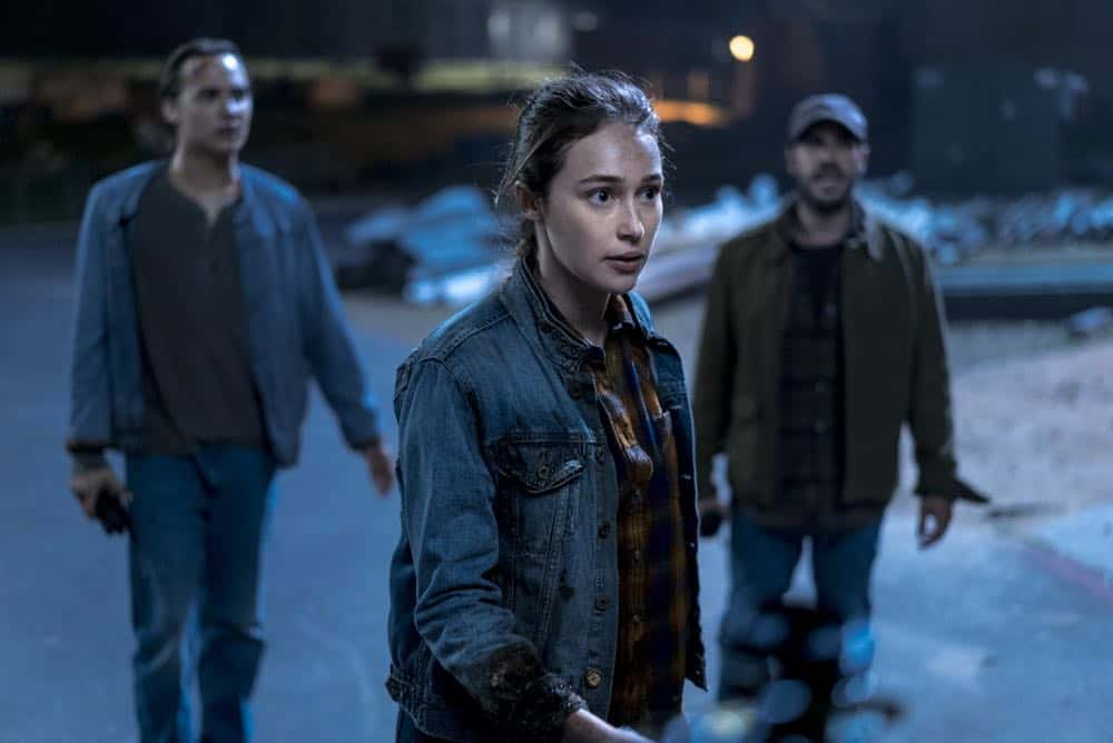Alycia Debnam-Carey as Alicia Clark, Frank Dillaneas Nick Clark, Sebastian Sozzi as Cole - Fear the Walking Dead _ Season 4, Episode 2 - Photo Credit: Richard Foreman, Jr/AMC