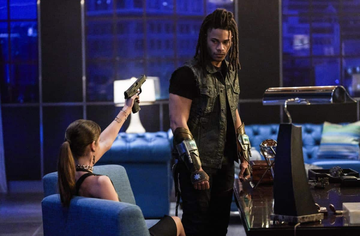 "Black Lightning -- "" Shadow of Death: The Book of War"" -- Image BLK113c_0125b.jpg -- Pictured (L-R): Charlbi Dean Kriek as Syonide and Jordan Calloway as Khalil/Painkiller -- Photo: Bob Mahoney/The CW -- © 2018 The CW Network, LLC. All rights reserved"