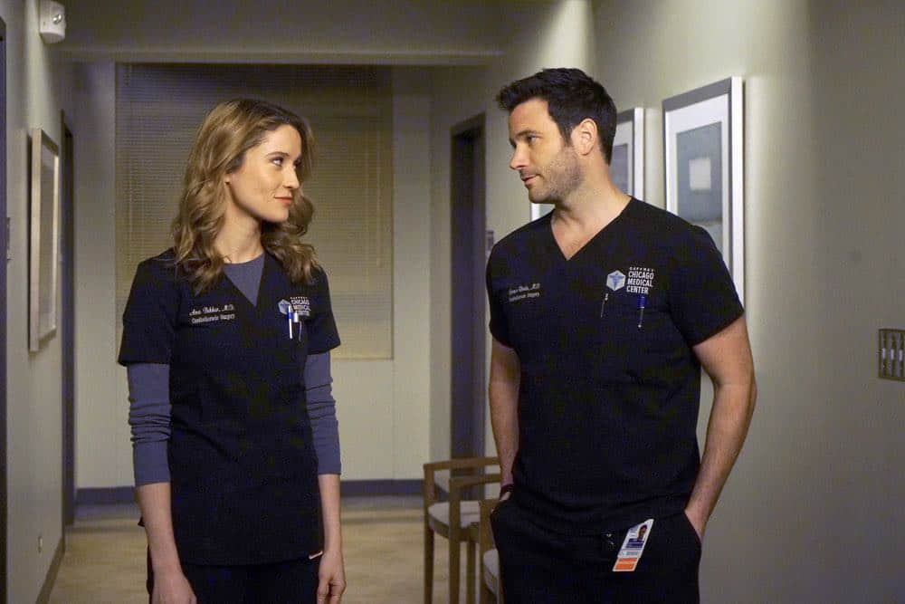 "CHICAGO MED -- ""An Inconvenient Truth"" Episode 316 -- Pictured: (l-r) Norma Kuhling as Ava Bekker, Colin Donnell as Connor Rhodes -- (Photo by: Elizabeth Sisson/NBC)"