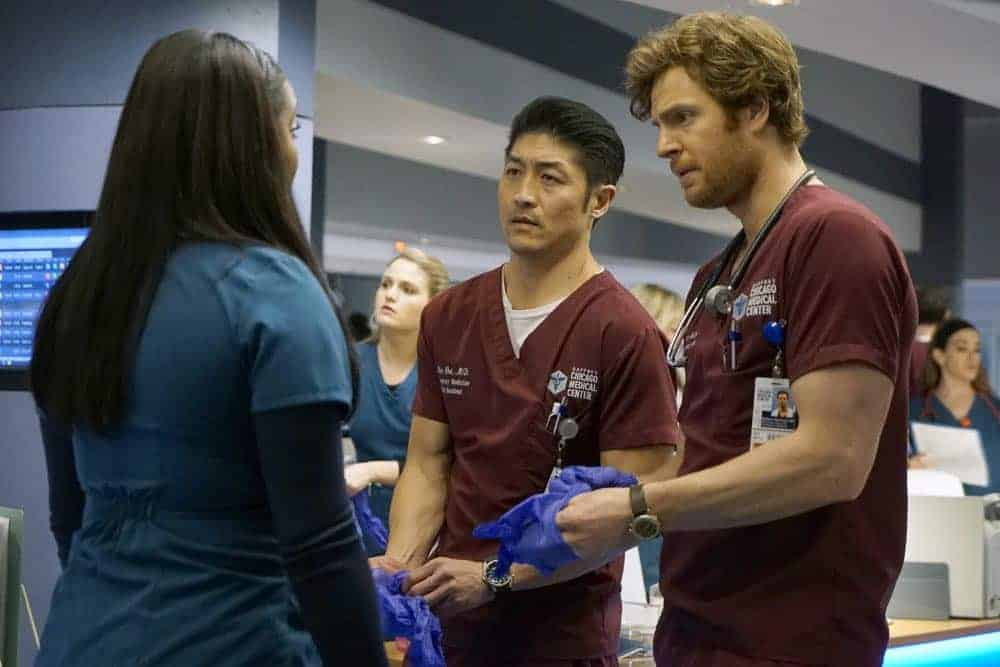 "CHICAGO MED -- ""An Inconvenient Truth"" Episode 316 -- Pictured: (l-r) Brian Tee as Ethan Choi, Nick Gehlfuss as Will Halstead -- (Photo by: Elizabeth Sisson/NBC)"