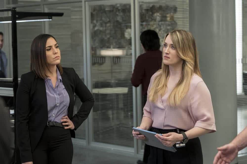 "BLINDSPOT -- ""Clamorous Night"" Episode 318 -- Pictured: (l-r) Audrey Esparza as Tasha Zapata, Ashley Johnson as Patterson -- (Photo by: David Giesbrecht/NBC/Warner Bros)"