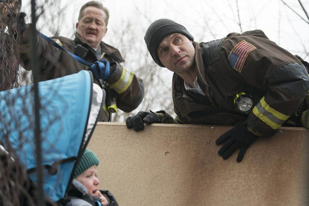 "CHICAGO FIRE -- ""Where I Want To Be"" Episode 619 -- Pictured: (l-r) Christian Stolte as Mouch, Jesse Spencer as Matthew Casey -- (Photo by: Elizabeth Morris/NBC)"