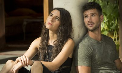 "IMPOSTERS -- ""Old Unresolved Sh*t"" Episode 203 -- Pictured: (l-r) Marianne Rendon as Jules, Parker Young as Richard -- (Photo by: Christos Kalohoridis/Bravo)"