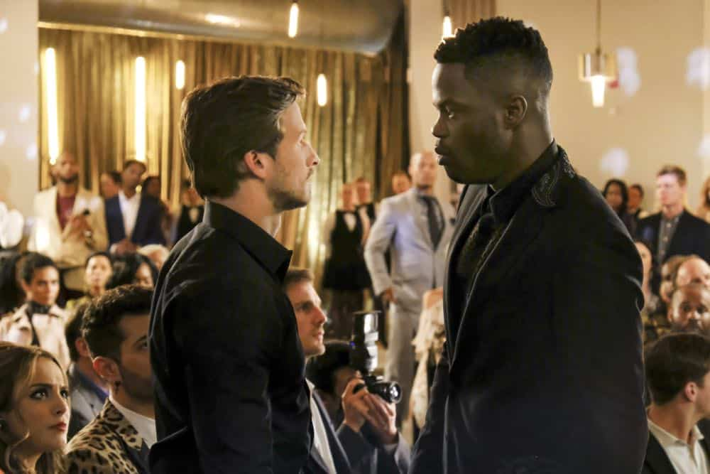 "Dynasty -- ""Use or Be Used""-- Image Number: DYN119b_0256b2.jpg -- Pictured (L-R): Adam Huber as Liam and Sam Adegoke as Jeff -- Photo: Erika Doss/The CW -- © 2018 The CW Network, LLC. All Rights Reserved"