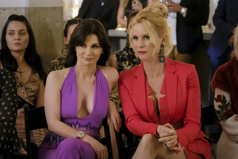 "Dynasty -- ""Use or Be Used""-- Image Number: DYN119b_0292b.jpg -- Pictured (L-R): Julia Haart and Nicollette Sheridan as Alexis -- Photo: Erika Doss/The CW -- © 2018 The CW Network, LLC. All Rights Reserved"