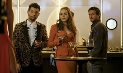 """Dynasty -- """"Use or Be Used""""-- Image Number: DYN119b_0055b.jpg -- Pictured (L-R): Rafael De La Fuente as Sammy Jo, Elizabeth Gillies as Fallon and Adam Huber as Liam -- Photo: Erika Doss/The CW -- © 2018 The CW Network, LLC. All Rights Reserved"""