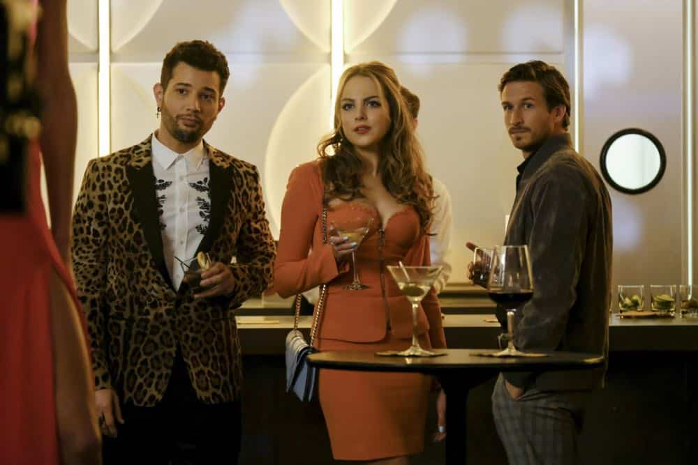 "Dynasty -- ""Use or Be Used""-- Image Number: DYN119b_0055b.jpg -- Pictured (L-R): Rafael De La Fuente as Sammy Jo, Elizabeth Gillies as Fallon and Adam Huber as Liam -- Photo: Erika Doss/The CW -- © 2018 The CW Network, LLC. All Rights Reserved"