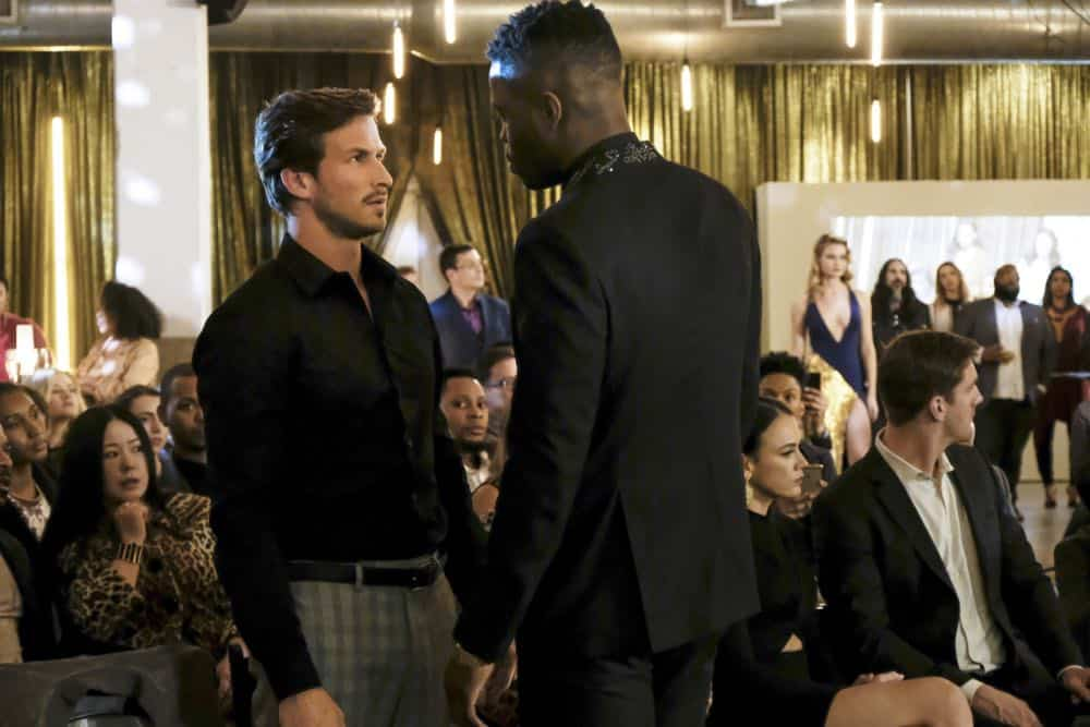 "Dynasty -- ""Use or Be Used""-- Image Number: DYN119b_0055b.jpg -- Pictured (L-R): Adam Huber as Liam and Sam Adegoke as Jeff -- Photo: Erika Doss/The CW -- © 2018 The CW Network, LLC. All Rights Reserved"